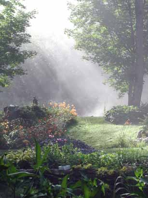 Mist rising from the pond, low lying cloud kissing the mountain and sunlight peeking through.  It doesn't get much better eh